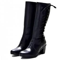 Bota Feminina cano alto ajustável couro cor preto salto alto Pierrô