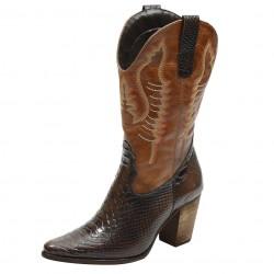 Bota Texana feminina bico fino cano e salto alto couro estampa cobra marrom e liso caramelo