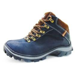 Coturno Adventure para trilha conforto couro cor azul