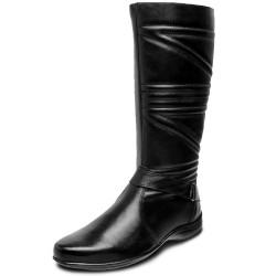 Bota Rasteira conforto cano longo liso couro cor preto