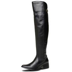 Bota Over The Knee conforto cano super longo liso couro cor preto