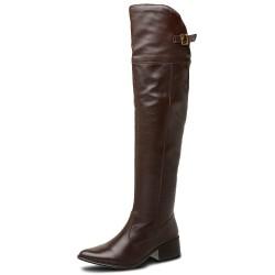 Bota Over The Knee conforto cano super longo liso couro cor marrom