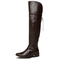 Bota Over The Knee conforto cano longo liso com ajuste couro cor marrom