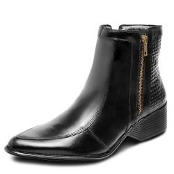 Bota conforto cano curto com detalhes salto baixo couro cor preto