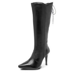 Bota Social Conforto cano ajustável e salto altos couro cor preto