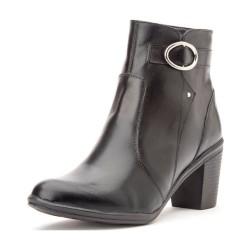 Bota Social Conforto cano baixo e salto alto couro cor preto