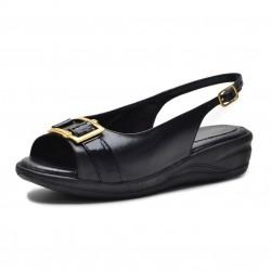 Sandálias Conforto ortopédica couro cor preto