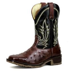 Bota Texana couro cor marrom estampa avestruz e preto