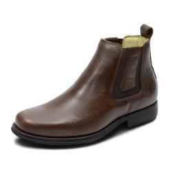 Bota ultra conforto couro cor marrom escuro