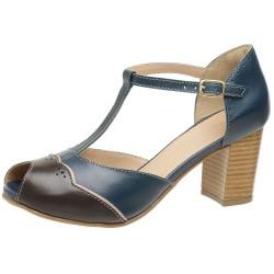 Sandália Peep Toe couro legítimo cor azul marinho