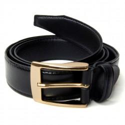 Cinto Masculino Social com fivela dourada couro legítimo cor preto